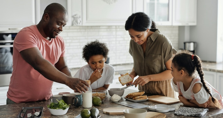 family in the kitchen together